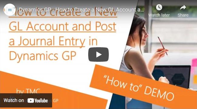 Dynamics GP create a new GL account