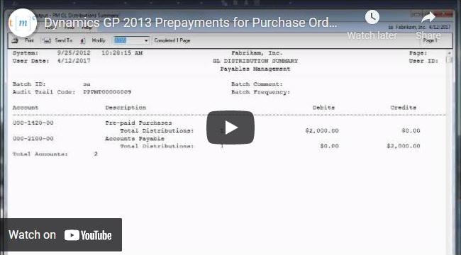 Microsoft Dynamics GP Prepayments Demo